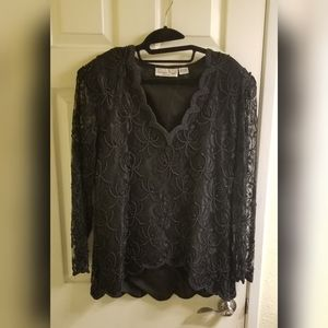LAURENCE KAZAR Long Sleeve Beaded Shirt